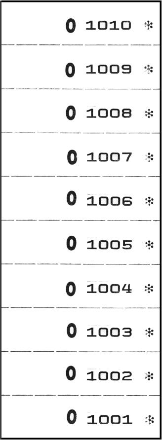 Nummernblocks, 1-fach