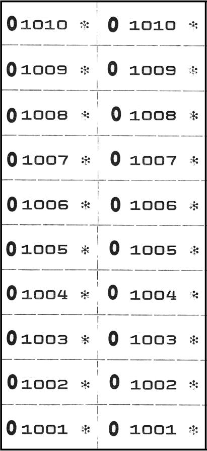 Nummernblocks, 2-fach